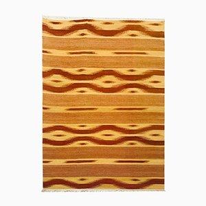 Indischer Kelim Teppich aus Wolle & Baumwolle in Gold & Khaki, 1970er