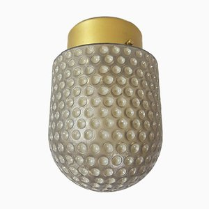 Vintage Frosted Glass and Brass Microphone Ceiling Lamp from Peill & Putzler, 1960s
