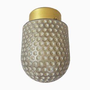 Vintage Mikrofon Deckenlampe aus Milchglas & Messing von Peill & Putzler, 1960er