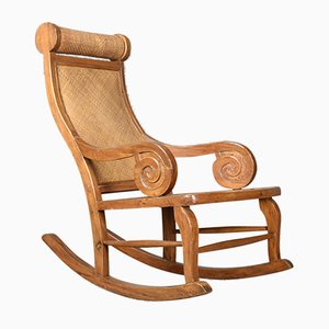 Mid-Century Hardwood and Rattan Rocking Chair, 1970s