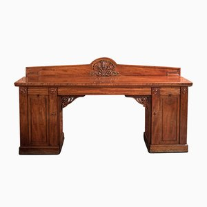 Large Antique William IV Mahogany Pedestal Sideboard, 1830s