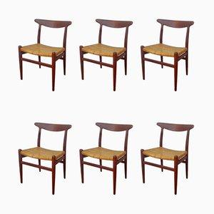 Esszimmerstühle mit Gestell aus Teak & Sitz aus Schilfrohrgeflecht von Hans J. Wegner für C.M. Madsen, 1950er, 6er Set