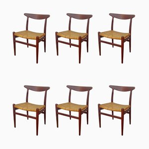 Teak and Cane Dining Chairs by Hans J. Wegner for C.M. Madsen, 1950s, Set of 6