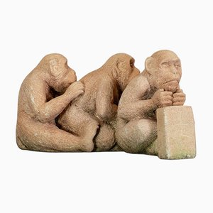 English Stone Sitting Macaques Sculpture from Dominic Hurley, 1980s