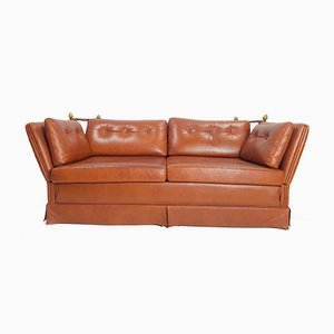 Vintage French Cognac Leather and Brass Sofa from Maison Jansen, 1970s