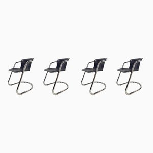 Black Leather Cantilever Dining Chairs by Willy Rizzo for Cidue, 1970s, Set of 4