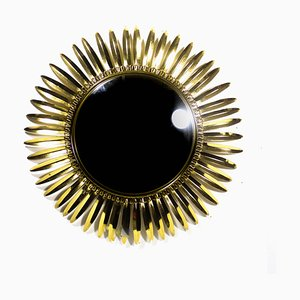 Specchio convesso vintage in ottone di DeKnudt, anni '50