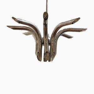 Lampadario Mid-Century in metallo cromato di Goffredo Reggiani