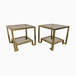 Glass and Brass Side Tables by Guy Lefevre for Maison Jansen, 1970s, Set of 2