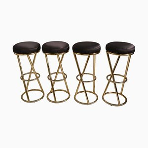 Modernist French Tubular Brass Bar Stools by Pierre Chareau, 1970s, Set of 4