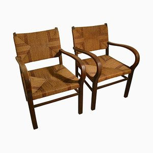 Bauhaus Wood and Rope Armchairs by Erich Dieckmann, 1920s, Set of 2