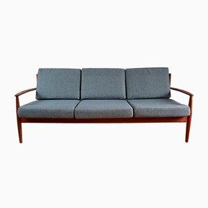 Sofa mit Gestell aus Teak im skandinavischen Stil von Grete Jalk für France & Søn / France & Daverkosen, 1960er