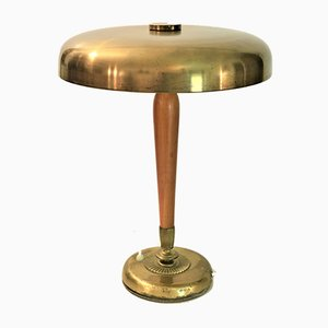 Large Swedish Oak and Brass Table Lamp from Böhlmarks, 1930s