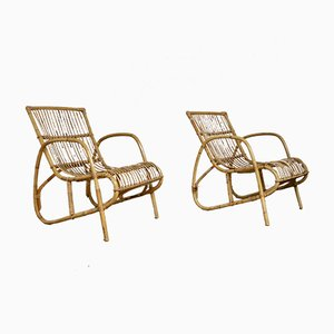 Mid-Century Rattan Lounge Chairs, 1960s, Set of 2