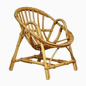 Chaise d'Enfant Mid-Century en Rotin, années 60