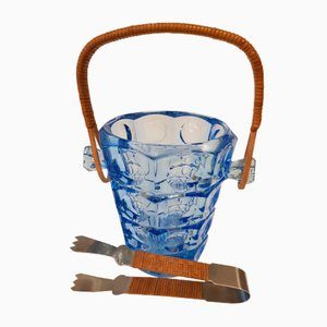 Ice Bucket with Tong by Jurnikl for Rosice Glassworks, 1960s