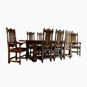 Mesa de comedor de roble y sillas, años 80. Juego de 9