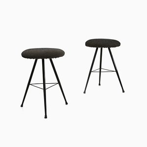 Mid-Century Italian Black Metal Stools, 1950s, Set of 2
