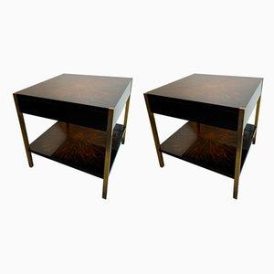 Französische Tische aus lackiertem Holz & Bronze von Maison Charles, 1970er, 2er Set