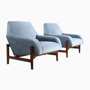 Mid-Century Light Blue Velvet Armchairs by Attilio Allievi for Cassina, 1950s, Set of 2
