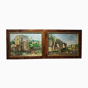 Antique Roman Forum Watercolors by Onorato Carlandi, Set of 2