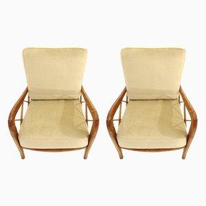 Mid-Century Beige Velvet Armchairs, 1940s, Set of 2