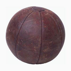 Médecine Ball ou Ballon Thérapeuthique Vintage en Cuir, années 40