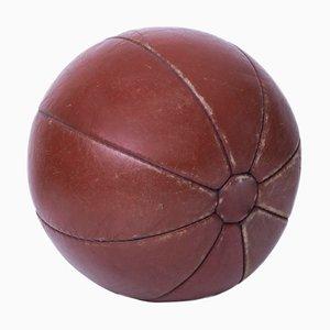 Balón medicinal vintage de cuero, años 40