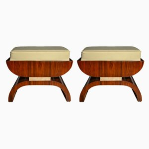 Art Deco French Rosewood and Parchment Benches, 1930s, Set of 2