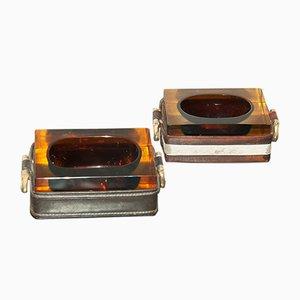Posaceneri in pelle e vetro, anni '70, set di 2