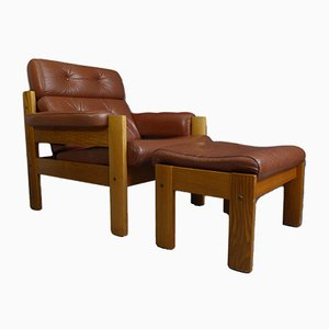 Vintage Swedish Armchair and Footstool from Ekornes