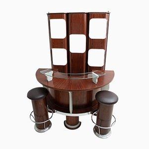 Italienisches Mid-Century Set aus Bar & Hocker aus Holz & Stahl, 1970er