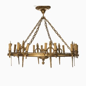 Antique Napoleon III Golden Bronze Eight Light Chandelier
