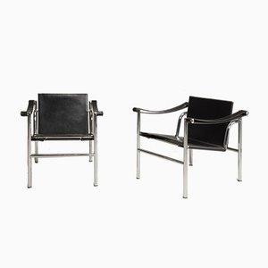 Poltrone LC1 in acciaio e pelle di Les Corbusier per Cassina, anni '70, set di 2