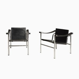 Steel and Leather LC1 Armchairs by Les Corbusier for Cassina, 1970s, Set of 2