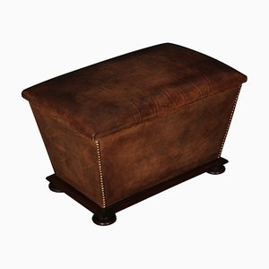 Antique Victorian Leather and Mahogany Ottoman