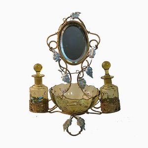 Antique Art Nouveau Brass and Glass Parfum Set