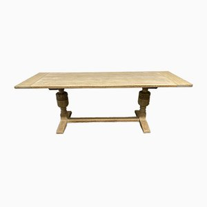 Antique Bleached Oak Refectory Dining Table