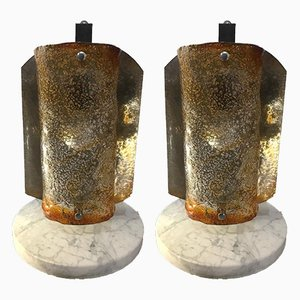 Lámparas de mesa de Murano de cristal, años 70. Juego de 2
