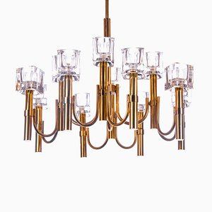 Cubist Style Italian Glass and Brass Chandelier by Gaetano Sciolari for Sciolari, 1970s
