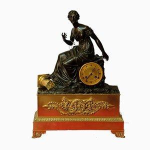 Horloge Ancienne en Bronze Doré, France, années 1850