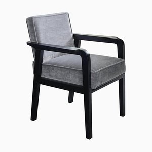 Art Deco Style Black Ebony Finish and Ribbed Velvet Atena Dining Carver Chair by Casa Botelho