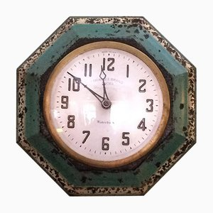 Antique Advertising Tole Wall Clock from Waterbury Clock Co.