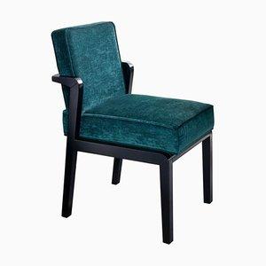 Art Deco Style Black Ebony Finish and Ribbed Velvet Atena Dining Chair by Casa Botelho