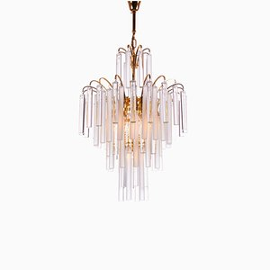 Hollywood Regency Gilt Brass and Crystal Chandelier by Christoph Palme for Palwa, 1960s