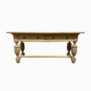 Antique Bleached Oak Console Table