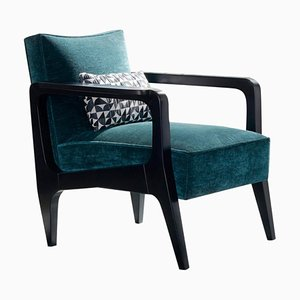 Art Deco Style Black Ebony Finish and Ribbed Velvet Atena Dining Chair by Casa Botelho