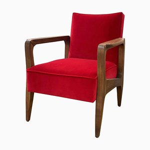 Art Deco Style Black American Walnut and Lush Cotton Velvet Atena Armchair by Casa Botelho