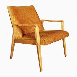 Scandinavian Beech and Velor Lounge Chair, 1950s