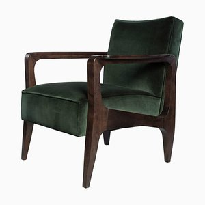 Art Deco Style Black American Walnut and Lush Cotton Velvet Atena Armchair by Casa Botelho